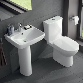 Twyford E100 Square Washbasin & Full Pedestal 550mm Wide 1 Tap Hole