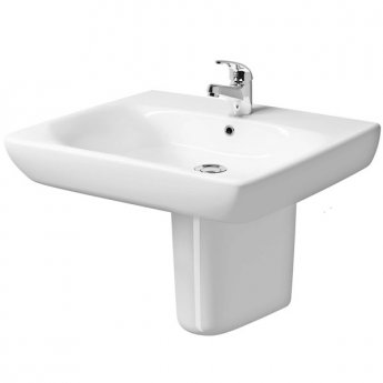 Twyford E100 Square Less Abled Washbasin & Semi Pedestal 650mm Wide 1 Tap Hole