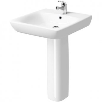 Twyford E100 Square Less Abled Washbasin & Full Pedestal 650mm Wide 1 Tap Hole