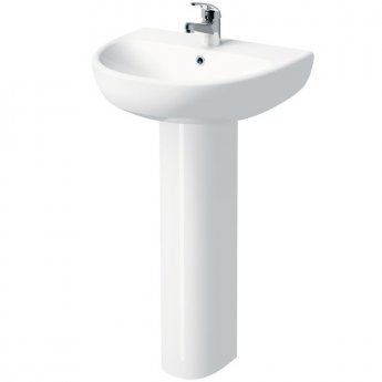Twyford E100 Round Washbasin & Full Pedestal 500mm Wide 1 Tap Hole