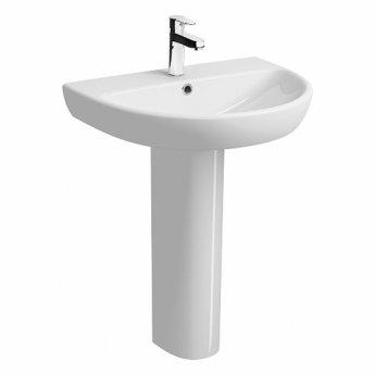 Twyford E100 Round Washbasin with Full Pedestal 650mm W - 1 Tap Hole