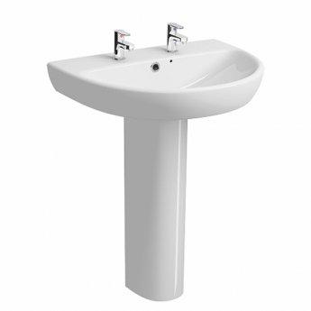 Twyford E100 Round Washbasin with Full Pedestal 650mm W - 2 Tap Hole