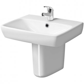 Twyford E100 Square Washbasin & Semi Pedestal 500mm Wide 1 Tap Hole