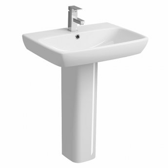 Twyford E100 Square Washbasin with Full Pedestal 650mm W - 1 Tap Hole