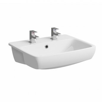 Twyford E100 Square Semi-Recessed Basin 550mm Wide - 2 Tap Hole