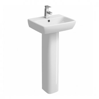 Twyford E100 Square Handrinse Washbasin with Full Pedestal 450mm W - 1 Tap Hole
