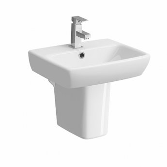 Twyford E100 Square Handrinse Washbasin with Semi Pedestal 450mm W - 1 Tap Hole