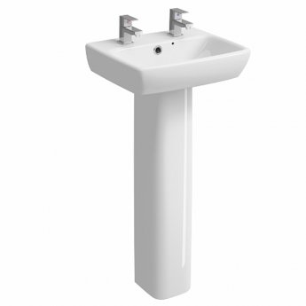 Twyford E100 Square Handrinse Washbasin with Full Pedestal 450mm W - 2 Tap Hole