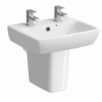 Twyford E100 Square Handrinse Washbasin with Semi Pedestal 450mm W - 2 Tap Hole