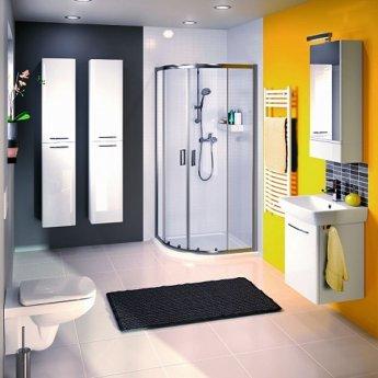 Twyford E100 Square Mirror Cabinet 420mm Wide - White