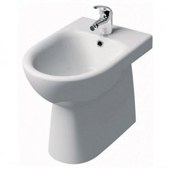 Twyford E100 Round Floor Standing Back to Wall Bidet - 1 Tap Hole