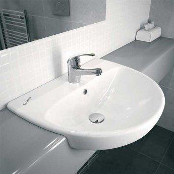 Twyford E100 Round Semi-Recessed Basin 550mm Wide 1 Centre Tap Hole