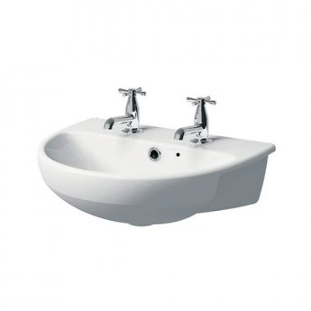Twyford E100 Round Semi-Recessed Basin 550mm Wide 2 Tap Hole