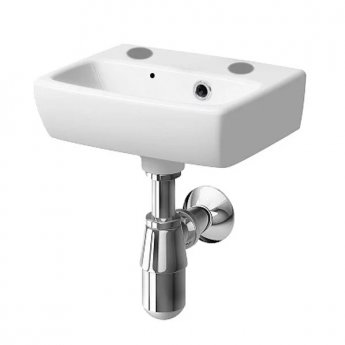 Twyford E100 Square Handrinse Basin 360mm Wide 2 Tap Hole