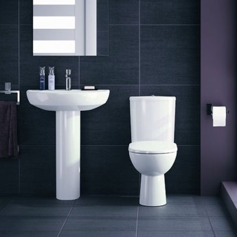 Twyford E100 Round Raised Height Close Coupled Toilet - Push Button Cistern - Standard Seat