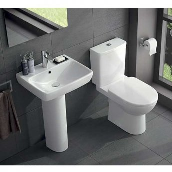 Twyford E100 Premium Round Close Coupled Toilet WC Push Button Cistern - Standard Seat & Cover