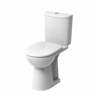 Twyford E100 Round Close Coupled Toilet Raised Height Push Button Cistern - Soft Close Seat