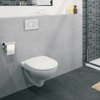 Twyford E100 Round Wall Hung Toilet 530mm - Standard Seat & Cover