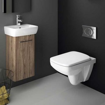 Twyford E100 Square Wall Hung Toilet WC - Soft Close Seat & Cover with Quick Release Metal Hinge