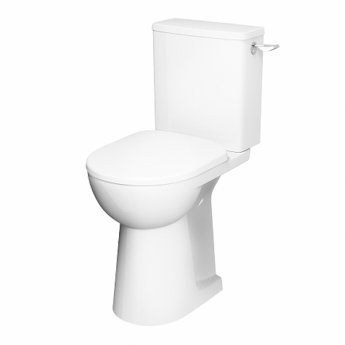 Twyford E100 Round Raised Height Close Coupled Toilet Lever Cistern - Standard Seat