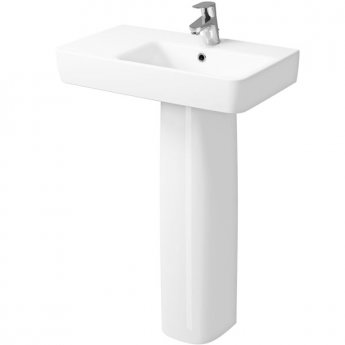 Twyford E200 Left Hand Shelf Washbasin & Full Pedestal 650mm Wide 1 Tap Hole