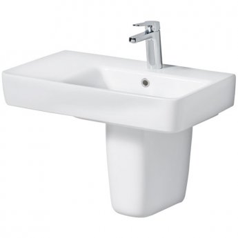 Twyford E200 Left Hand Shelf Washbasin & Semi Pedestal 650mm Wide 1 Tap Hole