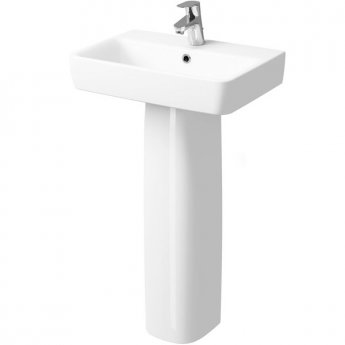 Twyford E200 Washbasin & Full Pedestal 600mm Wide 1 Tap Hole