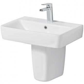 Twyford E200 Washbasin & Semi Pedestal 550mm Wide 1 Tap Hole