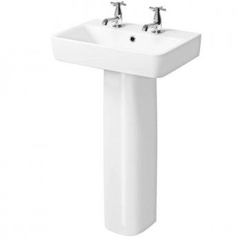 Twyford E200 Washbasin & Full Pedestal 550mm Wide 2 Tap Hole