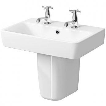 Twyford E200 Washbasin & Semi Pedestal 550mm Wide 2 Tap Hole