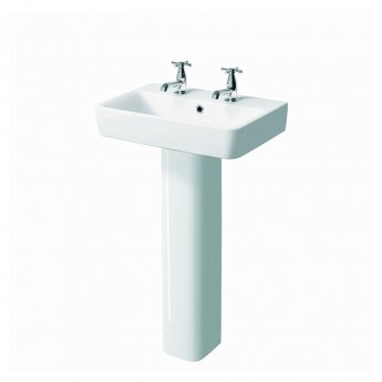 Twyford E200 Handrinse Washbasin with Full Pedestal 600mm Wide - 2 Tap Hole
