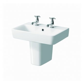 Twyford E200 Handrinse Washbasin with Semi Pedestal 600mm Wide - 2 Tap Hole