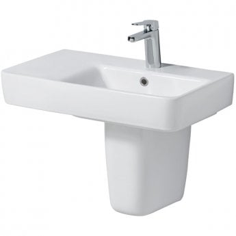 Twyford E200 Right Hand Shelf Washbasin & Semi Pedestal 650mm Wide 1 Tap Hole