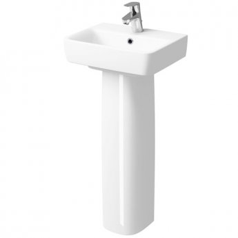 Twyford E200 Handrinse Basin & Full Pedestal 450mm Wide 1 Tap Hole