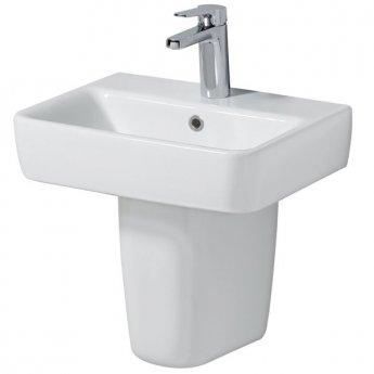 Twyford E200 Handrinse Basin & Semi Pedestal 450mm Wide 1 Tap Hole