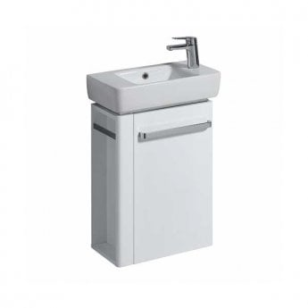 Twyford E200 Vanity Unit for Handrinse Basin with Left Handed Towel Rail 600mm x 448mm - White