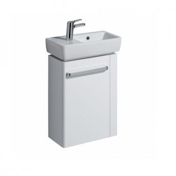 Twyford E200 Vanity Unit for Handrinse Basin with Right Handed Towel Rail 600mm x 448mm - White