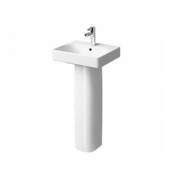 Twyford E500 Square Handrinse Washbasin with Full Pedestal 450mm W - 1 Tap Hole