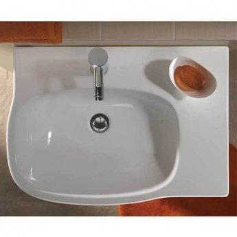 Twyford Moda Offset Basin & Semi Pedestal Right Hand Shelf 650mm Wide 1 Tap Hole