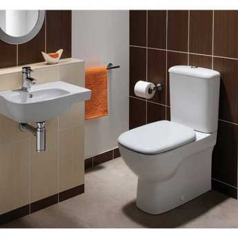 Twyford Moda Rimless Close Coupled Toilet WC Push Button Cistern - Standard Seat