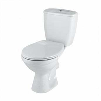 Twyford Option Close Coupled Toilet WC 6/4ltr Push Button Cistern - Stainless Steel Hinge Standard Seat