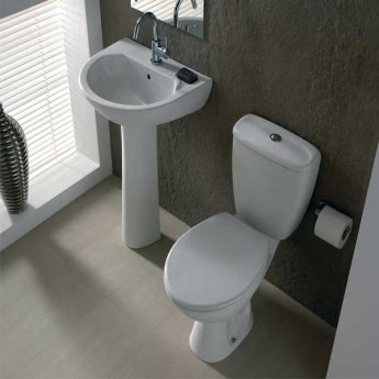 Twyford Option Close Coupled Toilet WC 6/4ltr Push Button Cistern - Plastic Hinges Standard Seat
