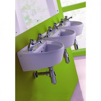 Twyford Sola Wall Hung Basin 400mm Wide 2 Tap Hole