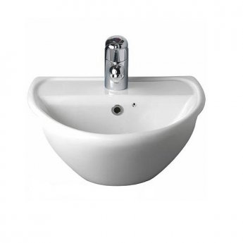Twyford Sola Optimise Semi-recessed Basin 450mm Wide 2 Tap Hole
