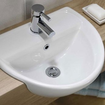 Twyford Sola Optimise Semi-recessed Basin 450mm Wide 1 Tap Hole