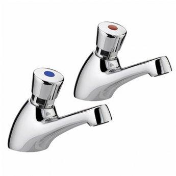 Twyford Sola 1/2 Non-Concussive Basin Taps Pair Chrome