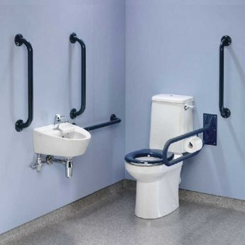 Twyford Doc M Value Pack with Rimless Disabled Toilet - Blue