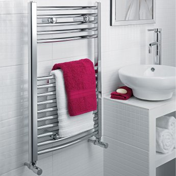 Ultraheat Chelmsford Curved Heated Towel Rail 764mm H x 600mm W - Chrome