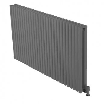 Ultraheat Klon Double Designer Horizontal Radiator, 600mm H x 611mm W, Grey Black