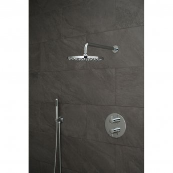Vado DX Celsius Thermostatic Round Backplate Dual Concealed Mixer Shower with Shower Kit + Fixed Head